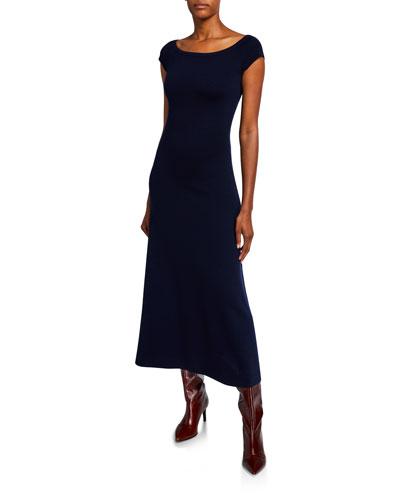 Larrington Wool-Cashmere Short-Sleeve Midi Dress