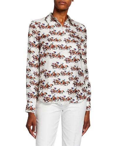 Henri Horse Race Print Silk Shirt