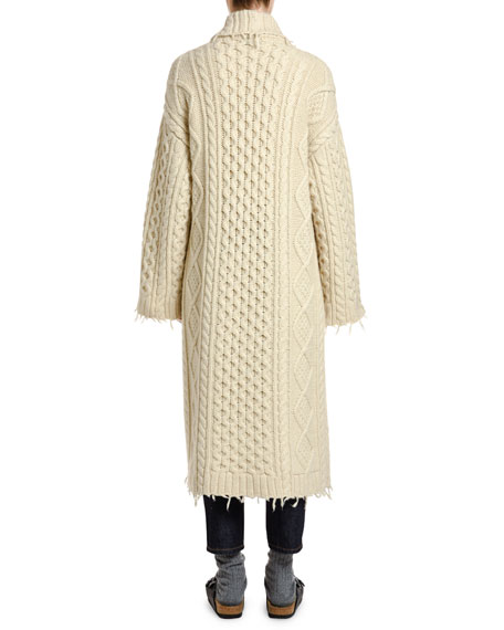 Fisherman Knit Cardigan Coat