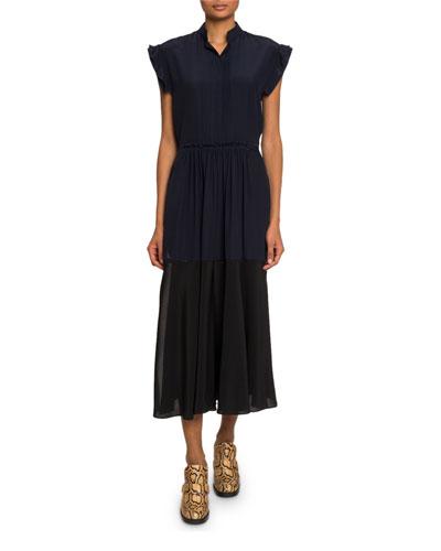 Mock-Neck Crepe de Chine Midi Dress