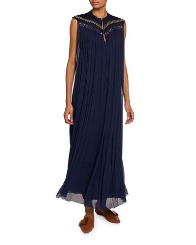 Embroidered-Yoke Chiffon Dress
