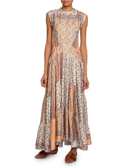 Bandana-Print Silk Tiered Dress