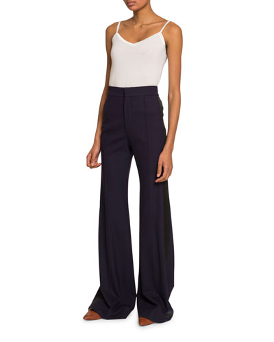 High-Waist Flared Wool Pants