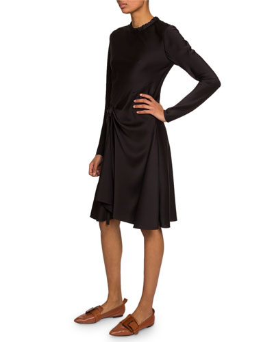 Satin Gathered Crewneck Dress