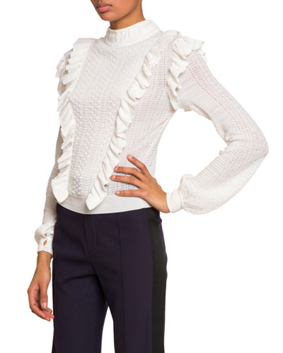 Ruffle-Front High-Neck Sweater