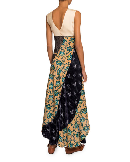 Floral Patchwork Crepe de Chine V-Neck Dress