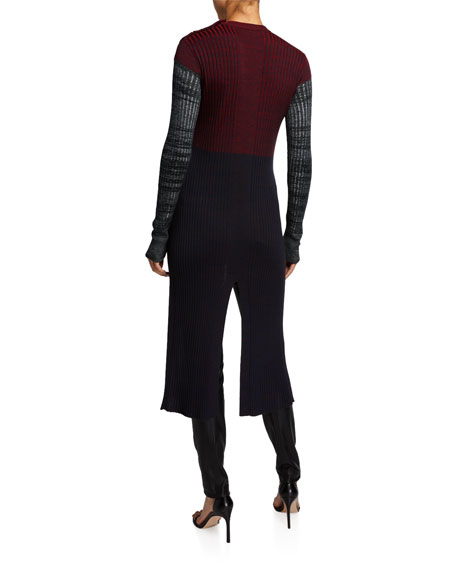 Wool Colorblocked Sweater w/ Slit Front