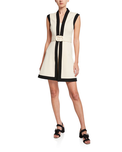 Belted Sleeveless Shift Dress