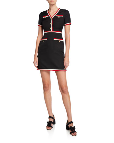Cady Crepe Belted Mini Dress