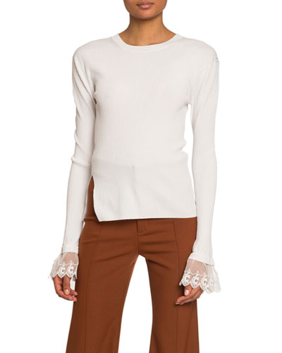 Organza-Cuff Ribbed Knit Sweater