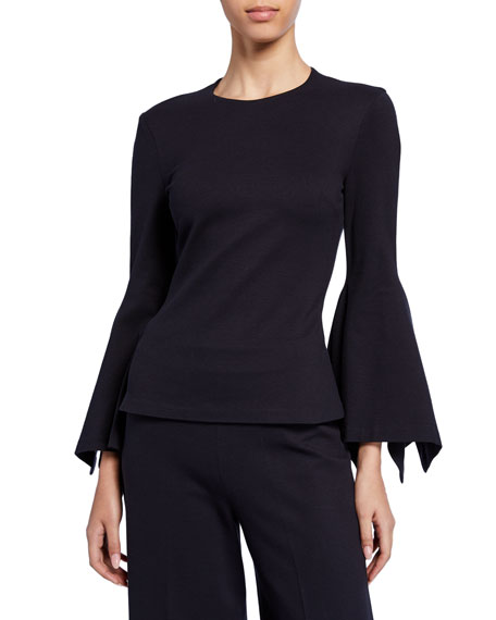 Scarf-Sleeve Jersey Top