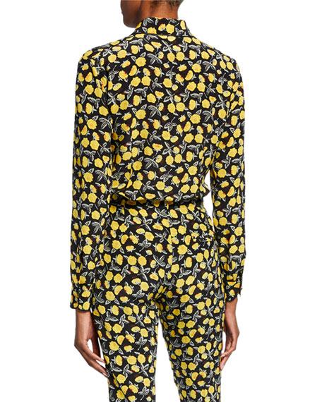 Poppy Print Button-Front Blouse