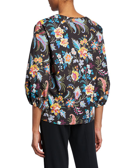 Fern Floral Print Bell-Sleeve Blouse