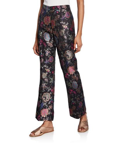 Floral Jacquard Straight-Leg Pants