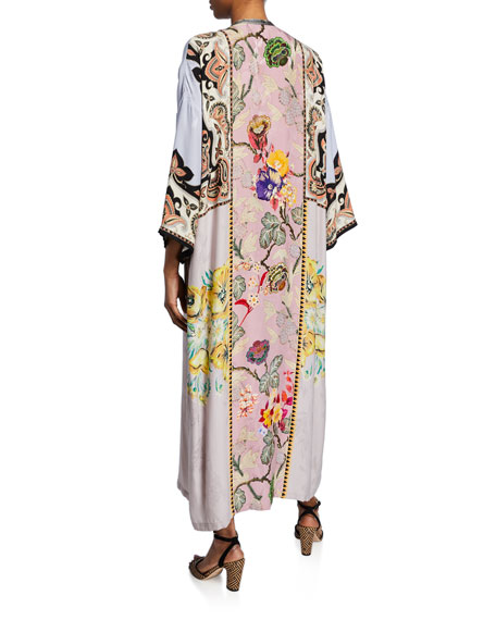 Placed Rose Floral Print Jersey Dress