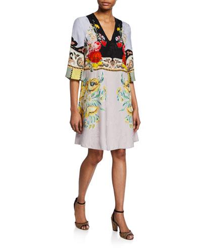 Placed Rose Floral Jersey V-Neck  Dress