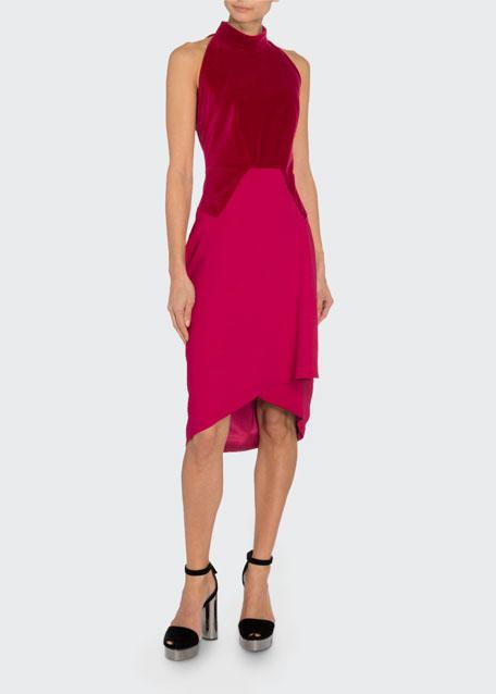 Velvet-Bodice Halter Dress
