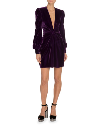 Long-Sleeve Liquid Velvet Dress