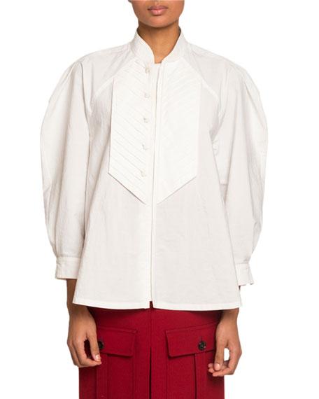 Chevron-Bib Poplin Shirt