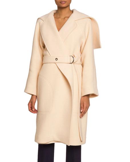 Chloe Button-Cape Wool-Blend Coat