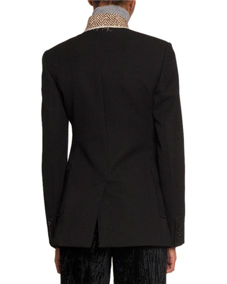 Pique High-Neck Button Front Jacket