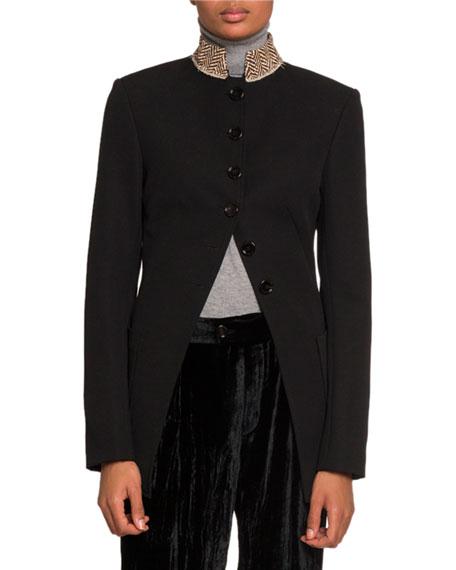 Chloe Pique High-Neck Button Front Jacket