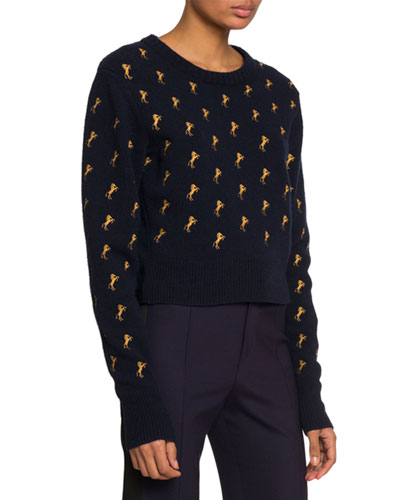 Horse-Embroidered Crewneck Sweater