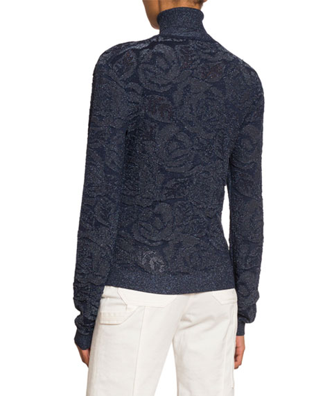 Shimmer Floral Jacquard Turtleneck Sweater