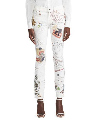 Embellished Flag Slim Jeans