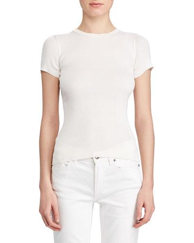 Short-Sleeve Ribbed-Silk Sweater