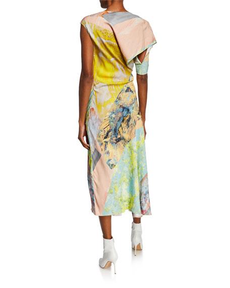 Asymmetric Painted Patchwork Dress