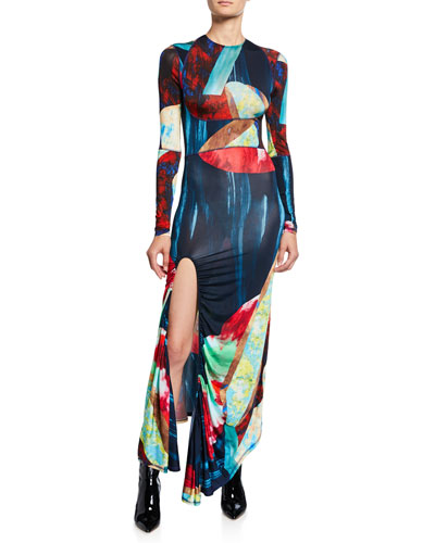 Abstract Multicolor Jersey Maxi Dress