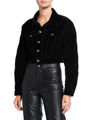 Velvet Seamed Cropped Jacket