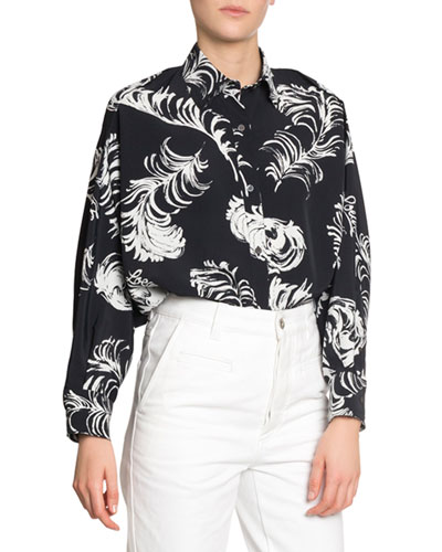 Feather Print Button-Front Blouse