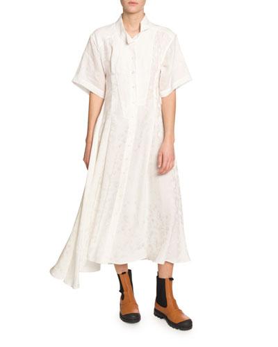 Feather Jacquard Short-Sleeve Shirtdress