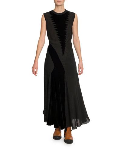 Velvet-Patchwork Maxi Dress