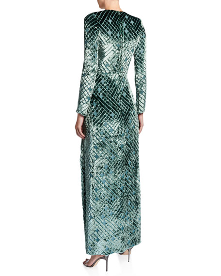 Diamond-Burnout Velvet Wrap Gown