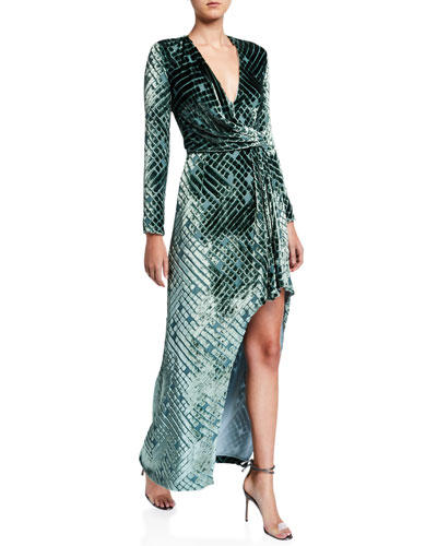 Diamond-Burnout Velvet Wrap Gown