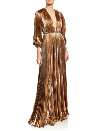 Blouson-Sleeve V-Neck Pleated Lame Gown