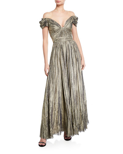 0917d551e7d Off-the-Shoulder Pleated Gown Quick Look. J. Mendel
