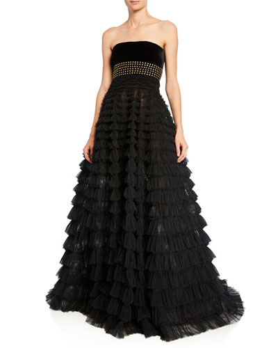 Strapless Studded Tiered Tulle Gown