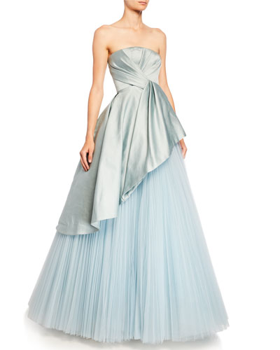 Satin-Bodice Tulle-Skirt Ball Gown