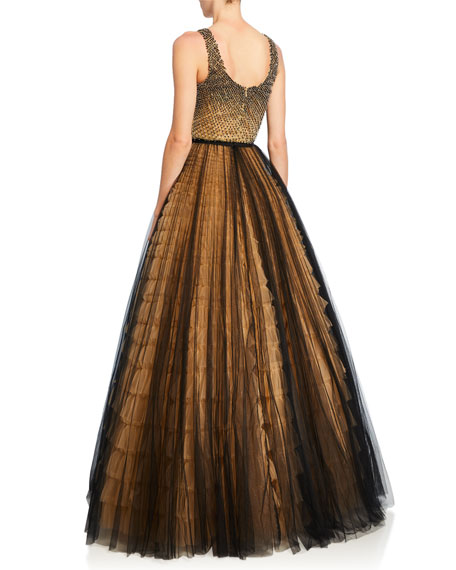 Embroidered Bustier Tulle Skirt Gown