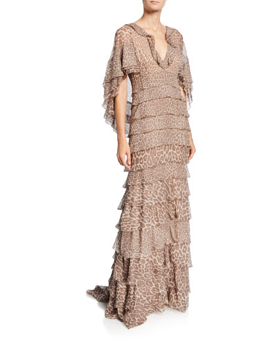 855fdca10a Leopard Print Ruffle-Tiered Chiffon Gown Quick Look. J. Mendel
