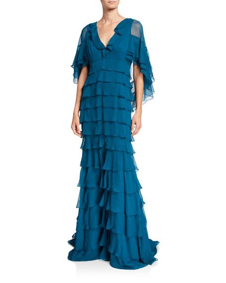 Ruffle-Tiered Chiffon Gown
