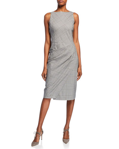 Ruched Plaid Suiting Dress