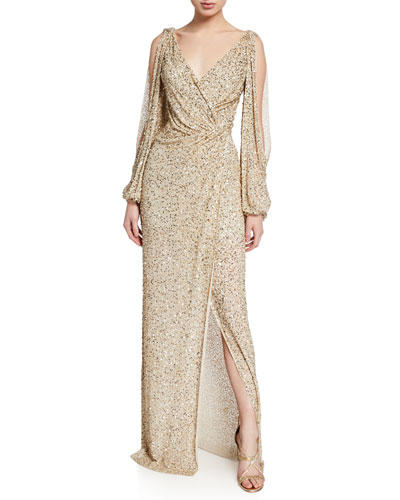 Cold-Shoulder Wrapped Shimmer Gown