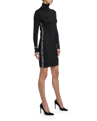 Shimmer Logo-Taped Turtleneck Dress