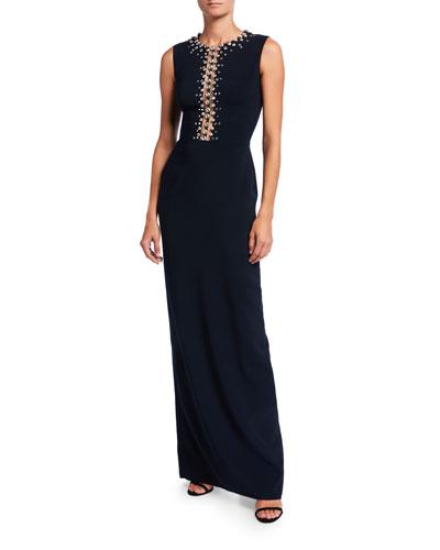 Sleeveless Crystal-Trim Column Gown