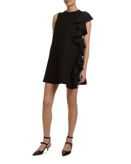 Ruffle-Side Sleeveless Crepe Shift Dress